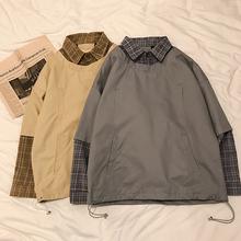 拼接假两件卫衣男士 2019春季新款 格子衬衫 宽松套头上衣潮港风衣服