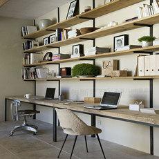 书房家具套装组合多功能实木简约现代美式成双人设计书桌书架组合
