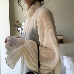 【阿一】2018春款气质仙仙立领荷叶边衬衣女灯笼袖内搭打底雪纺衫
