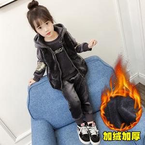 女童冬装套装2017新款韩版时尚儿童金丝绒运动洋气三件套加绒卫衣女童套装