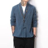 青年外套中式汉服居士服禅服男装 秋季中国风复古盘扣民族服装 唐装