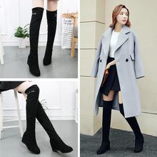 欧美秋冬新款长靴女弹力靴过膝靴内增高女靴子高跟单靴长筒靴女鞋