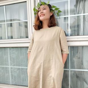 離離蔚蔚 夏季大碼文藝亞麻連衣裙女中袖中長款裙子棉麻寬松袍子