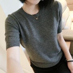 新款圆领套头纯色羊毛短袖毛衣女宽松韩版羊绒半袖针织打底衫薄款
