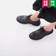 青婉田秋鞋2017新款黑色复古小皮鞋女ulzzang英伦真皮单鞋女厚底
