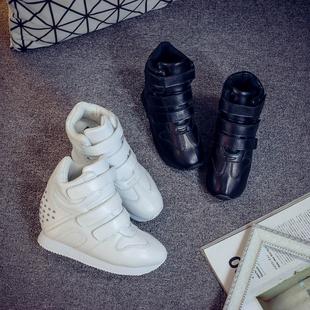 隐形内增高女鞋10cm高帮鞋2016秋冬季真皮白色魔术贴运动休闲鞋潮