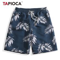 速干沙滩裤男士度假宽松运动情侣印花海边短裤五分居家休闲温泉裤