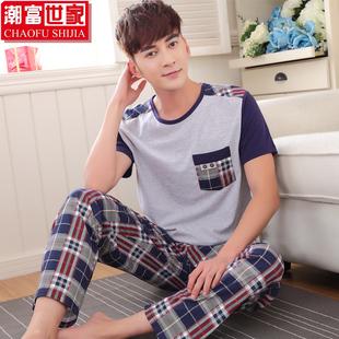 男士睡衣夏季短袖长裤纯棉男式中老青年男薄款全棉家居服两件套装