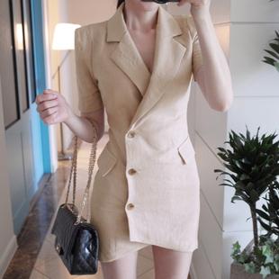 2019新款裙子夏薄小西裝連衣裙女裝職業OL中長款修身棉麻氣質顯瘦