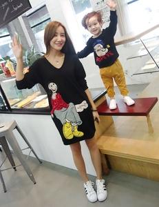 小森家亲子装长款卫衣2016秋装新款韩版母子装儿童打底衫男童装潮亲子装