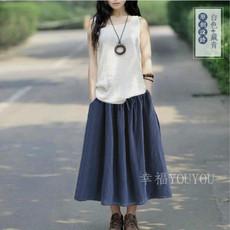 夏装新款棉麻连衣裙套装民族风宽松大码文艺两件套长裙亚麻半身裙