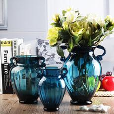 欧式彩色玻璃花瓶水培绿萝干花创意复古家装餐桌台面插花盆摆件