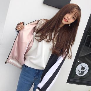 【胡楚靓】HUCHUJING 春款韩版两面穿刺绣棒球服飞行员外套女夹克