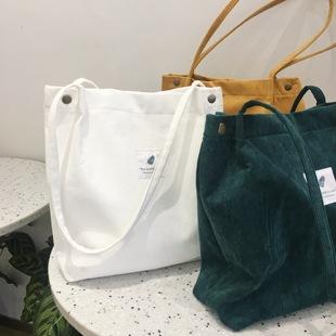 韩版慵懒风小清新复古灯芯绒女单肩包文艺森系chic手提袋帆布包