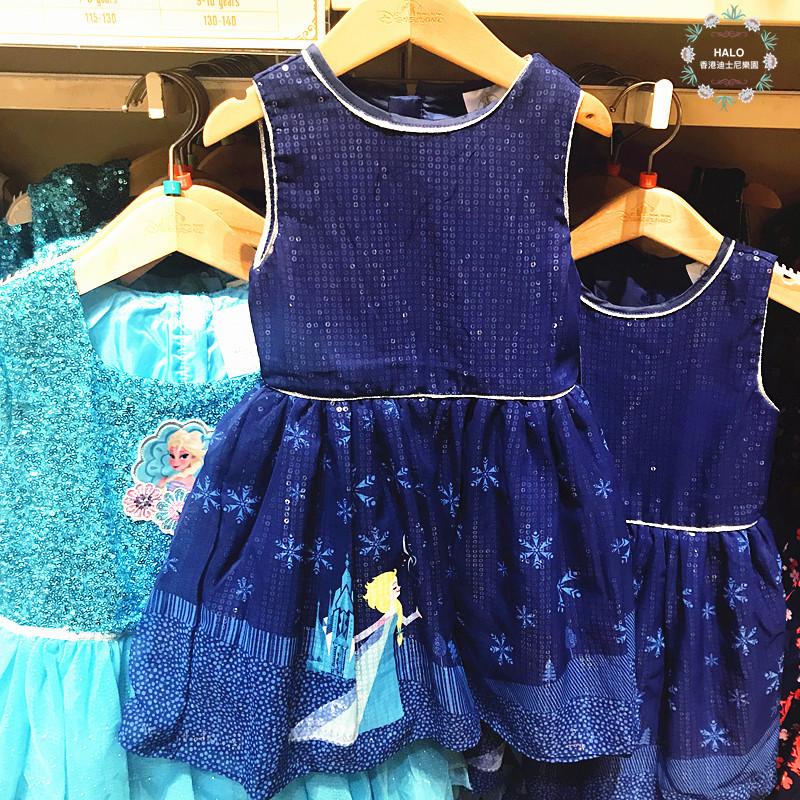 香港迪士尼乐园 冰雪奇缘爱莎女王 雪花闪片 儿童连体衣 背心裙子图片