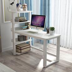 电脑桌组装家用简易书桌移动实木桌钢木书桌书架组合台式现代简约