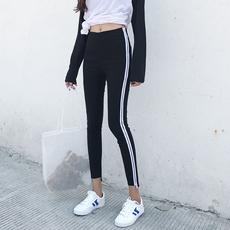 秋季新款女装韩版紧身撞色两条杠九分打底裤女学生修身小脚铅笔裤