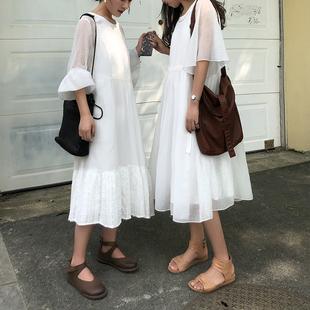 安妮森林复古气质修身白色连衣裙清新甜美棉麻初恋裙女夏2018新款