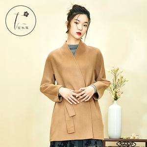 花木深中国风设计师品牌外套女中长款时尚双面呢大衣女2017新款