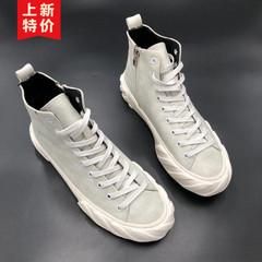 春季男鞋高帮鞋韩版休闲鞋精神小伙鞋子嘻哈潮流网红同款滑板鞋子
