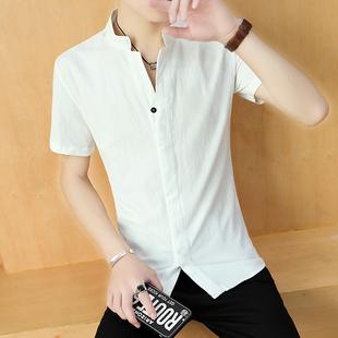 3件79】衬衫男衬衣立领短袖七分袖亚麻韩版夏季大码休闲寸衫白色
