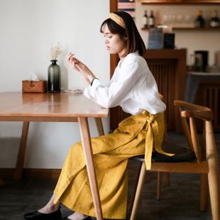ZAN原创半身长裙女文艺 春新棉麻裙一片式可系带高腰裙复古日系裙