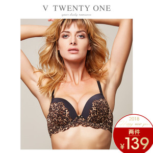 V21性感蕾丝豹纹女士内衣聚拢有钢圈文胸加厚上托舒适透气防下垂