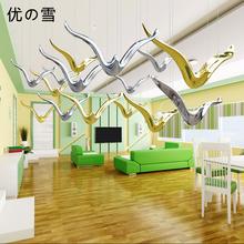 优雪创意现代海鸥空中吊饰家居客厅天花板挂件装饰品酒店商场中庭