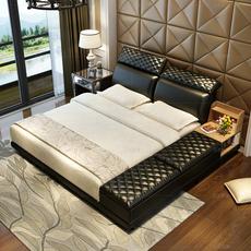 卫兰家具现代皮艺床 1.8米双人主卧真皮床榻榻米软体婚床现代皮床