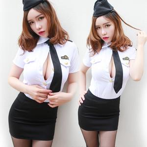 性感情趣内衣黑网丝袜OL空姐制服女套装
