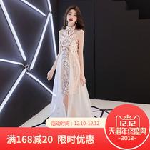 名媛生日派对长款 小晚礼服女2018新款 挂脖宴会高贵优雅洋装 连衣裙