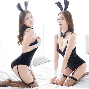 挑逗情趣内衣服骚透视开档小胸制服性感紧身兔女郎三点式激情套装