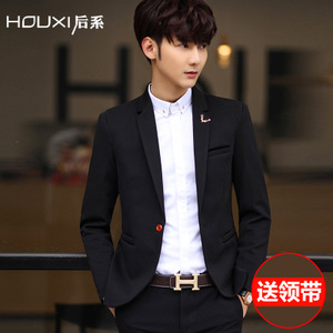 男士西服 春秋季新款修身韩版纯色英伦休闲小西装男潮外套正装男士西装