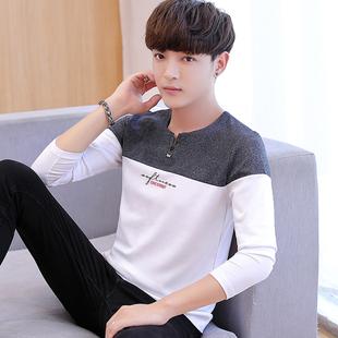 男士长袖t恤纯棉打底衫春季高中学生韩版潮流个性帅气秋衣上衣服