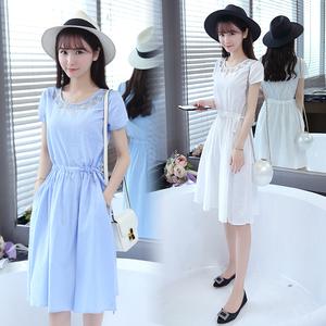 韩式夏季新款女装中长裙清纯甜美少女短袖连衣裙子学生及膝棉麻圆