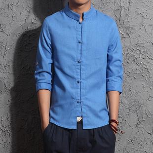 中国风男装盘扣短袖衬衫男夏季复古唐装棉麻古装上衣亚麻立领衬衣