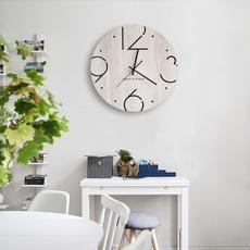田园创意北欧木质简约时尚挂钟客厅现代静音时钟大号墙钟艺术