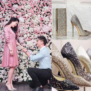 婚鞋女高跟鞋女细跟伴娘鞋新款银色婚纱鞋尖头单鞋性感亮片女鞋春单鞋女
