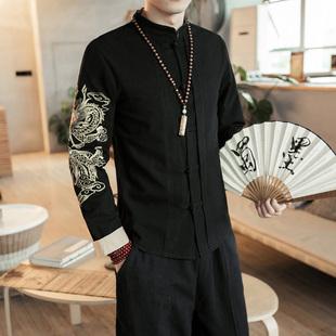春季复古中国风刺绣棉麻长袖衬衫男大码盘扣唐装青年亚麻衬衣外套