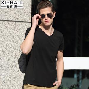 夏季纯棉男士短袖T恤V领弹力修身半袖纯色打底衫短袖T恤潮牌衣服