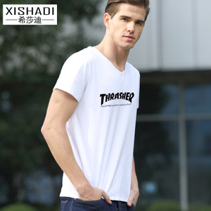 希莎迪2017夏季新款 欧美简约字母印花T恤 男装上衣V领修身体恤
