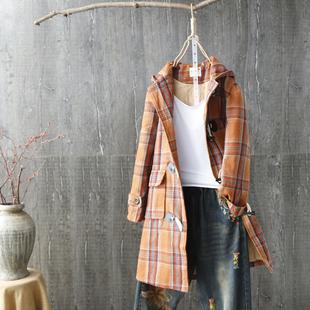 毛呢夹棉格子中长款学生外套女 2018冬季新款牛角扣风衣新年上衣