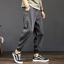 Summer Japanese Jeans Nine-minute Trousers Male Hallen Trousers Loose and Fattened and Small-footed Student's Lower-waist Girdle Trousers
