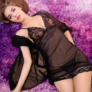 5色透明薄纱性感挑逗情趣内衣情趣套装sm骚透视装激情三点式睡裙