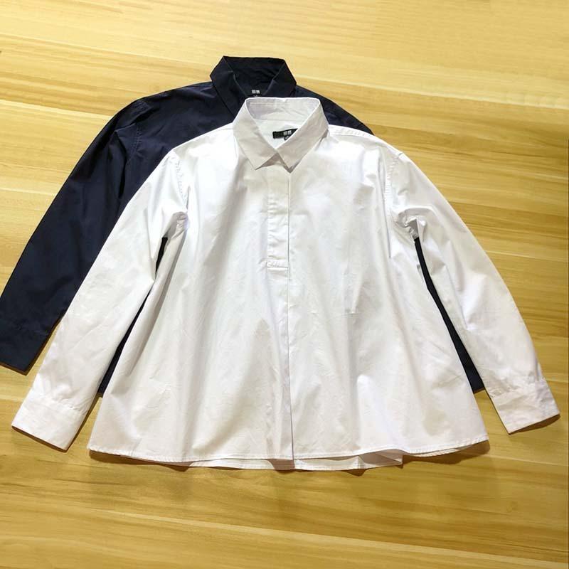 2018秋新款日系纯色衬衫 女式棉布POLO领宽松套头A字型上衣(长袖)图片