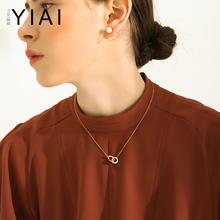女锁骨链短款 韩国镀金18k玫瑰金项链 简约颈链双环吊坠钛钢配饰品