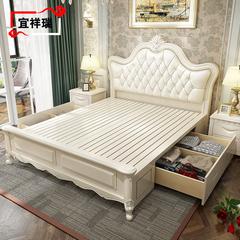 欧式实木床白色现代简约橡木床1.5米1.8米双人美式婚床卧室储物床