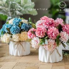 饰餐桌花瓶盆栽花艺绢花家居套装 小清新仿真假花束客厅摆件装 室内