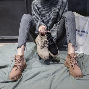chic马丁靴女秋2018新款英伦风学生韩版百搭短靴ins网红切尔西靴