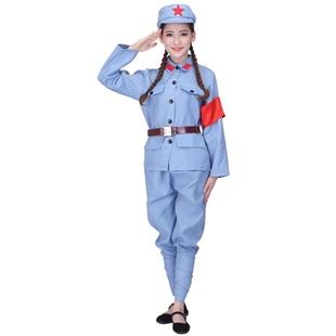 纯棉男女同款八路军表演服红军演出服装红卫兵衣服舞台服老式军装